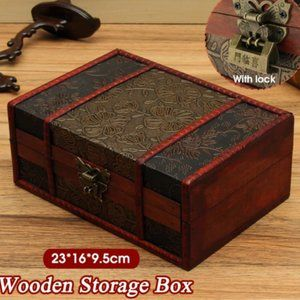 Vintage Wooden Jewelry Storage Box Lock Chest Hand